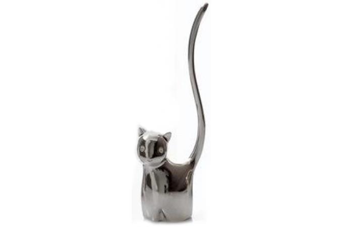 Porte bague argent chat animal porte bijoux pas cher for Deco argent pas cher