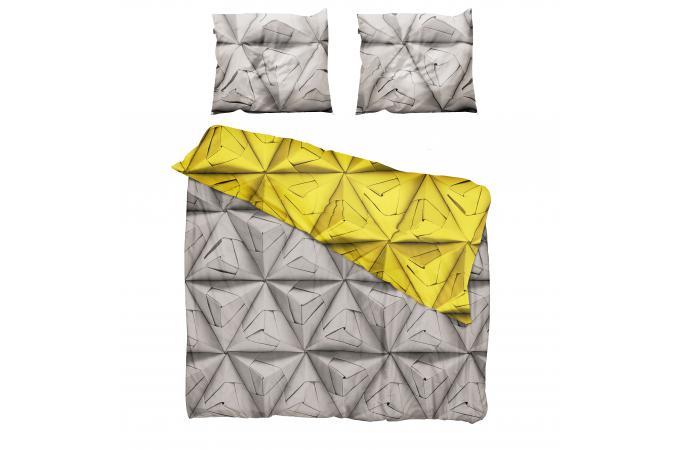 Parure grise et jaune coton 220x240 cm et deux taies d Housse de couette grise 220x240