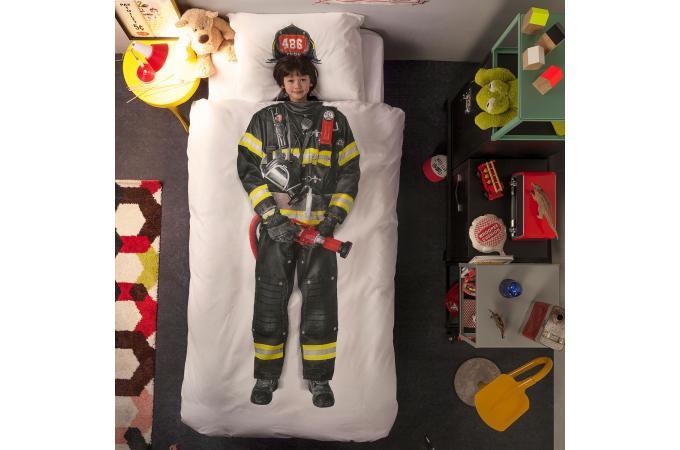 Parure coton pompier housse de couette 140x200 et 1 taie - Housse de couette pompier ...