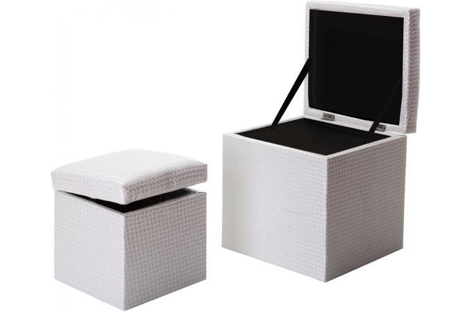 lot de 2 pouf coffre blanc similicuir tress pouf design. Black Bedroom Furniture Sets. Home Design Ideas